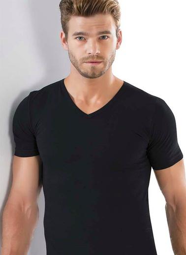 Akbeniz Erkek V Yaka Likralı Tshirt 6570 Beyaz